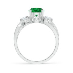 Toggle GIA Certified Round Emerald Twisted Vine Ring with Diamonds