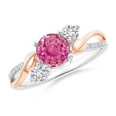 Pink Sapphire and Diamond Twisted Vine Ring