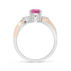 Toggle Pink Sapphire and Diamond Twisted Vine Ring