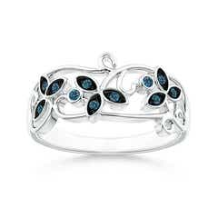 Vintage Style Enhanced Blue Diamond Flower Scroll Ring