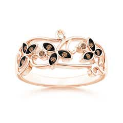 Vintage Style Coffee Diamond Flower Scroll Ring