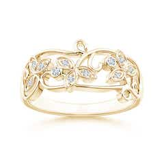 Vintage Style Diamond Flower Scroll Ring