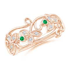 Vintage Style Emerald and Diamond Flower Scroll Ring
