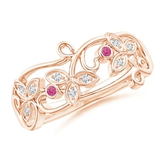 Vintage Style Pink Sapphire and Diamond Flower Scroll Ring