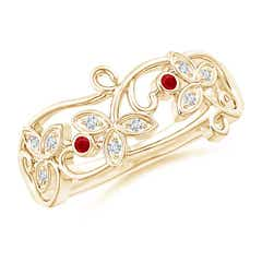Vintage Style Ruby and Diamond Flower Scroll Ring