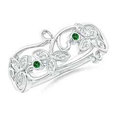 Vintage Style Tsavorite and Diamond Flower Scroll Ring