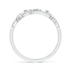 Toggle Vintage Style Tsavorite and Diamond Flower Scroll Ring