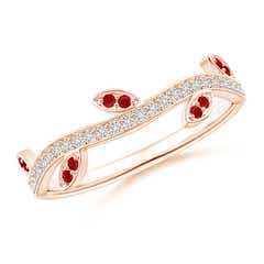 Ruby Vine and Leaf Curved Wedding Band