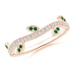 Tsavorite Vine and Leaf Curved Wedding Band