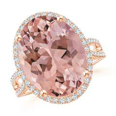 Oval Morganite Cocktail Ring with Diamond Halo
