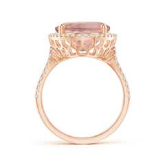 Toggle Oval Morganite Cocktail Ring with Diamond Halo