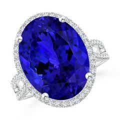 GIA Certified Oval Tanzanite Cocktail Ring with Diamond Halo