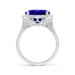 Toggle GIA Certified Oval Tanzanite Cocktail Ring with Diamond Halo