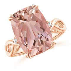 Cushion Morganite Crossover Ring with Diamond Accents
