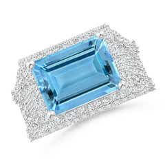 East West Emerald Cut Aquamarine Cocktail Ring with Diamonds