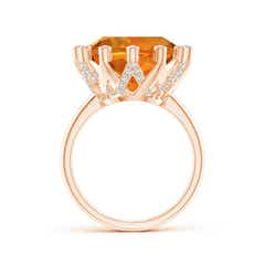 Toggle Round Citrine Ring with Bezel Set Diamond Accents