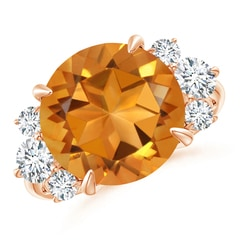 Round Citrine Tapered Shank Ring with Trio Diamonds