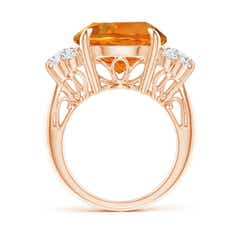 Toggle Round Citrine Tapered Shank Ring with Trio Diamonds