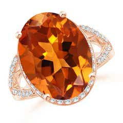Oval Citrine Split Shank Ring with Diamond Accents