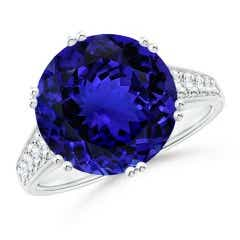 GIA Certified Round Tanzanite Cocktail Ring with Diamonds