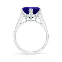 Toggle GIA Certified Round Tanzanite Cocktail Ring with Diamonds