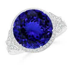 Vintage Style GIA Certified Round Tanzanite Cocktail Ring