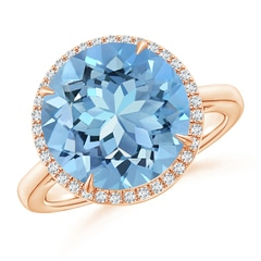 Claw Set Round Aquamarine Halo Ring