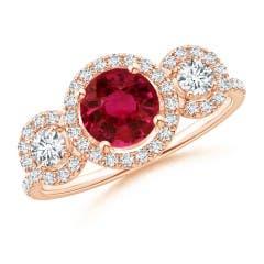 GIA Certified Ruby Three Stone Ring with Diamond Halo