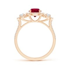 Toggle GIA Certified Ruby Three Stone Ring with Diamond Halo