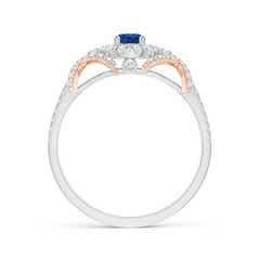 Toggle Vintage Inspired Sapphire and Diamond Ring with 'X' Motif