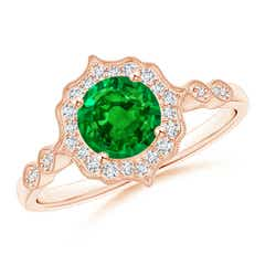 Vintage Inspired Round Emerald Ring with Ornate Halo