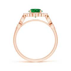 Toggle Vintage Inspired Round Emerald Ring with Ornate Halo