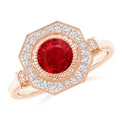 Ruby and Diamond Octagonal Halo Ring with Milgrain