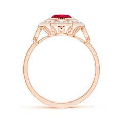Toggle Ruby and Diamond Octagonal Halo Ring with Milgrain