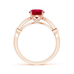 Toggle Vintage Style Round Ruby Marquise and Dot Engagement Ring