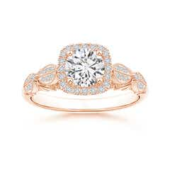 Vintage Style Round Diamond Cathedral Ring with Cushion Halo