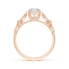 Toggle Vintage Style Round Diamond Cathedral Ring with Cushion Halo