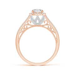 Toggle Vintage Style Round Diamond Cushion Halo Engagement Ring