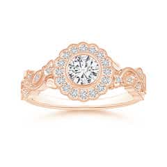 Angara Claw-Set Cushion Rose Quartz Halo Ring with Filigree u6EJW8e