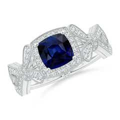 Vintage Style Cushion Sapphire Split Shank Engagement Ring