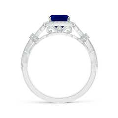 Toggle Vintage Style Cushion Sapphire Split Shank Engagement Ring