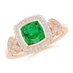 Vintage Inspired Cushion Emerald Halo Ring with Leaf Motifs