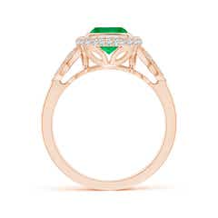 Toggle Vintage Inspired Cushion Emerald Halo Ring with Leaf Motifs