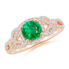 Vintage Style Emerald and Diamond Leaf Ring with Filigree