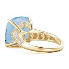 Toggle Claw-Set Cushion Aquamarine Cocktail Ring