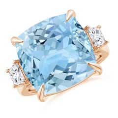 Classic Cushion Aquamarine Three Stone Ring
