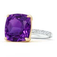 Two Tone Cushion Amethyst Statement Ring with Diamonds