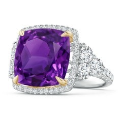 Solitaire Cushion Amethyst and Diamond Halo Ring in Two Tone