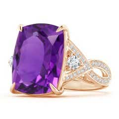 Rectangular Cushion Amethyst Twisted Split Shank Ring
