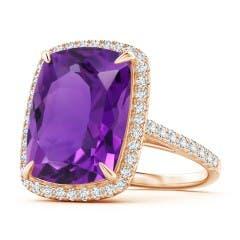 Rectangular Cushion Amethyst and Diamond Halo Cocktail Ring